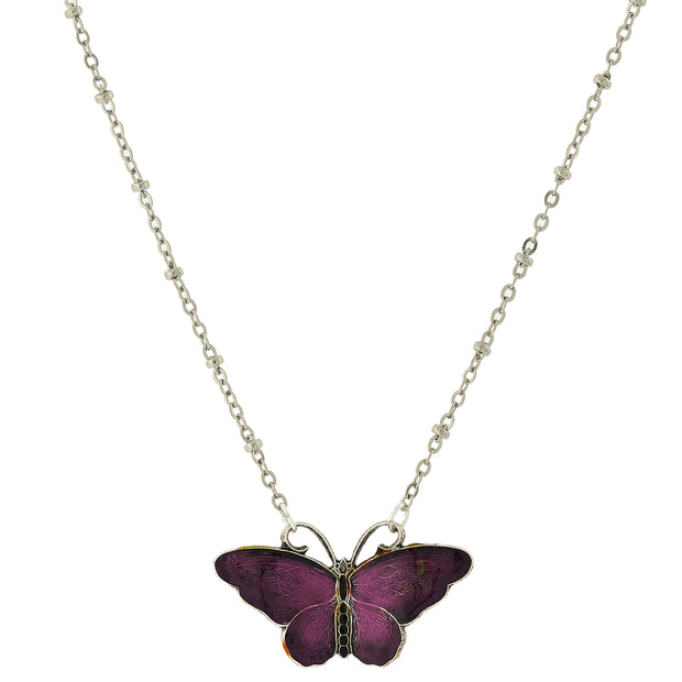 Silver Tone Enamel Butterfly Necklace 16.5   19.5 Inch Adjustable Purple