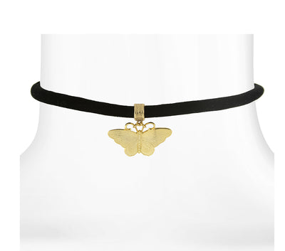 Black Velvet Choker With Gold Tone Butterfly Pendant 12 In Adj