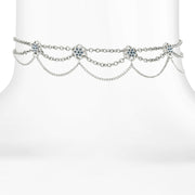 Silver Tone Chain Drape Choker With Blue Floral Crystal Accents 12 In Adj