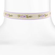 Floral Ribbon Choker With Lilac Purple Trim 12 In Adj