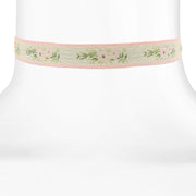 Floral Ribbon Choker with Lt. Rose Pink Trim 12  Adj.