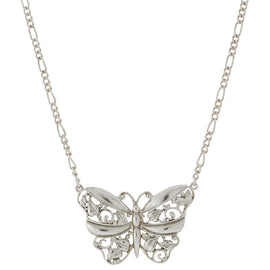 Silver Tone Filigree Butterfly Pendant Necklace