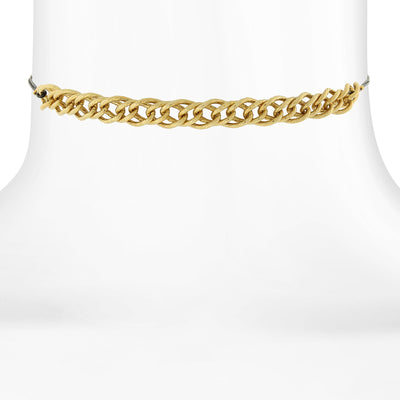 14K Gold Dipped With Thin Black Rope Choker Necklace 12 In Adj