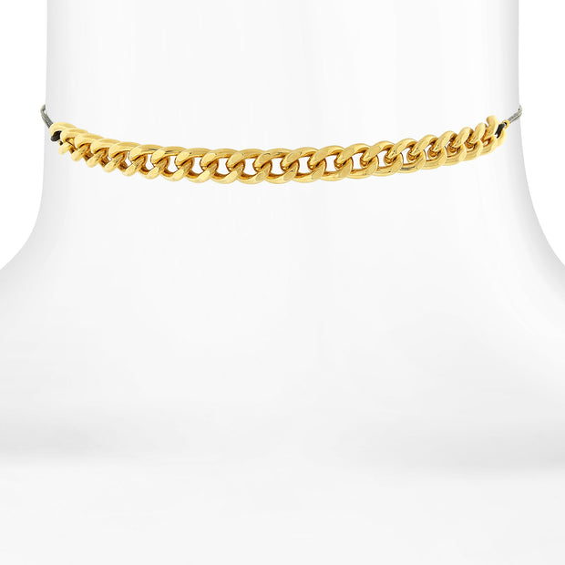 14K Gold Dipped With Thin Black Rope Chain Choker Necklace 12 In Adj