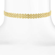 14K Gold Dipped Textured Chain Choker Necklace 12 In Adj