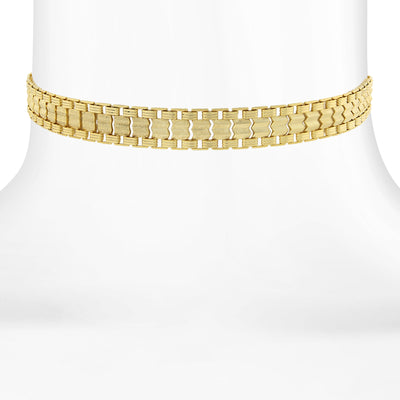 14K Gold Dipped Chain Choker Necklace 12 In Adj