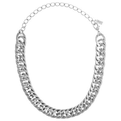 1928 Jewelry Silver Tone Curb Link Chain Choker 12 - 15 Inch Adjustable