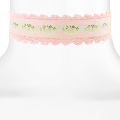 Pink Trim And Lt. Rose Floral Choker 12 In Adj