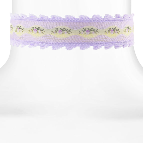 Lilac Purple Trim and Light Lilac Floral Ribbon Choker 12.5