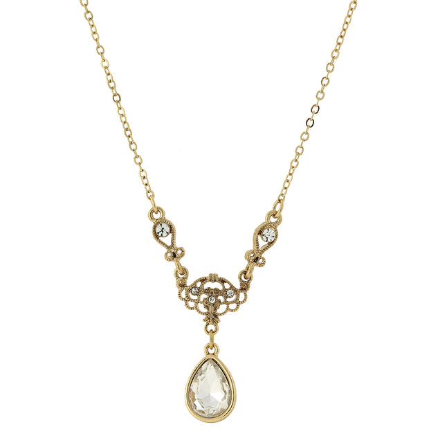 Gold Tone Crystal Teardrop Y Necklace 16   19 Inch Adjustable