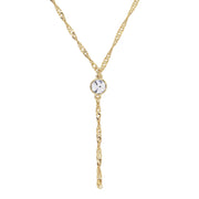Gold Tone Crystal Y Necklace Chain 16 - 19 Inch Adjustable Crystal Clear