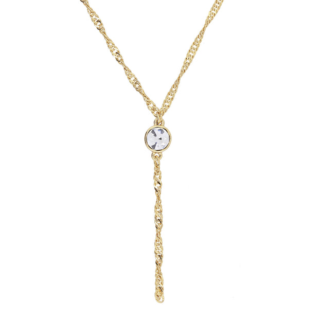 Gold Tone Crystal Y Necklace Chain 16   19 Inch Adjustable Crystal Clear