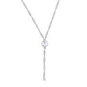 Silver Tone Round Crystal Y Necklace Chain 16 - 19 Inch Adjustable Crystal Clear
