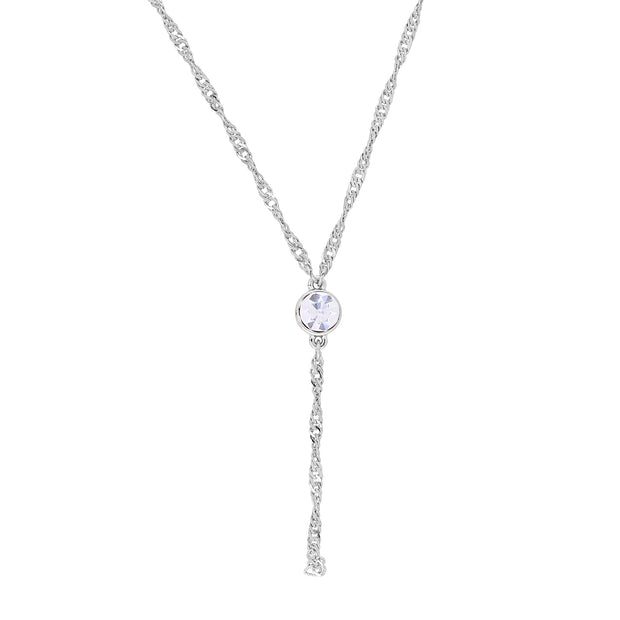 Silver Tone Round Crystal Y Necklace Chain 16   19 Inch Adjustable Crystal Clear
