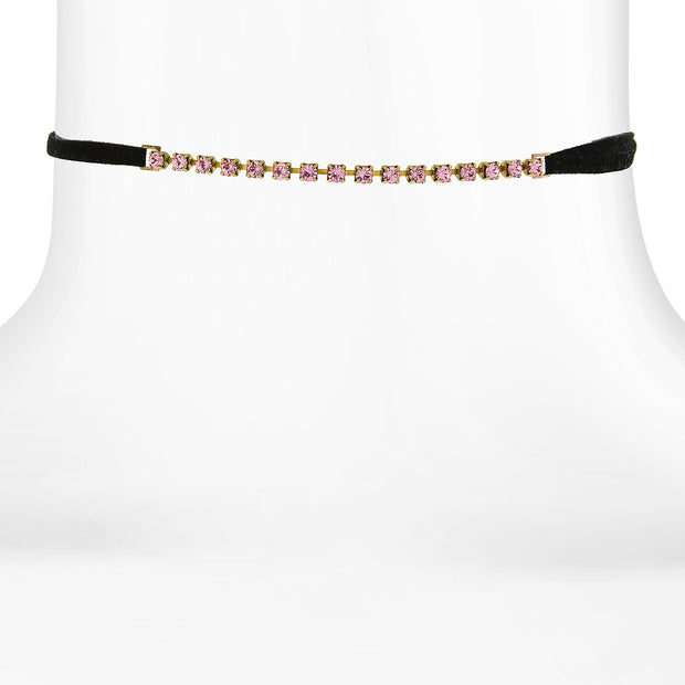 Crystal Choker With Black Faux Suede Ribbon 12 In Adj