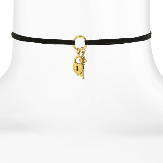 Black Choker With 14K Gold Dipped Heart And Key Charm Drops 12 In Adj