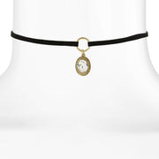 Black Choker With Oval Crystal Pendant Drop 12 In Adj