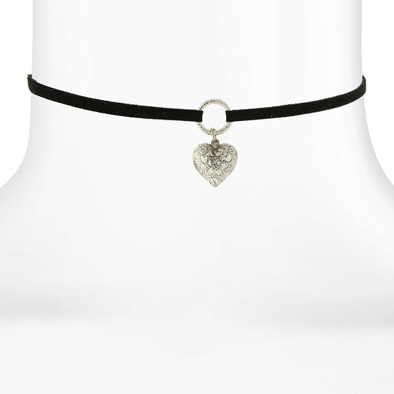 Fashion Jewelry - Black Choker with Silver Tone Puff Heart Drop 12