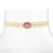 Ivory Lace Choker With Moonstone 12 In Adj Pink