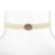 Gold Tone Ivory Lace Choker with Purple Color Moonstone