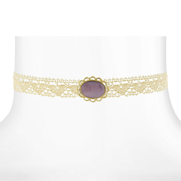 Ivory Lace Choker With Moonstone 12 In Adj