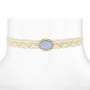 Ivory Lace Choker With Moonstone 12 In Adj Light Blue