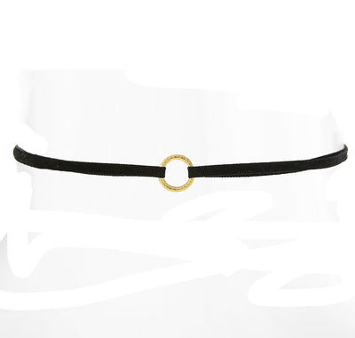 Slim Black Choker With Ring 12 In Adj