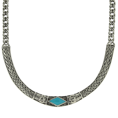 Silver Tone Turquoise Enamel Collar Necklace 16   19 Inch Adjustable