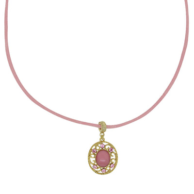 Faux Suede Pink Cord Choker With Pink Moonstone Pendant 15 Adj