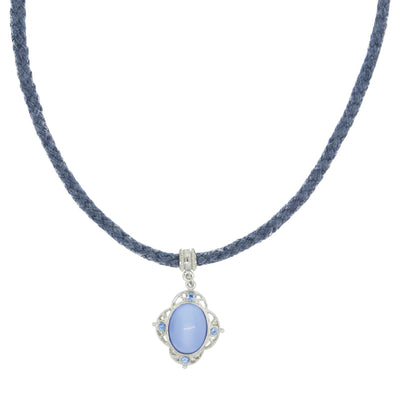 Blue Cord Choker With Blue Moonstone Pendant Drop 15 In Adj