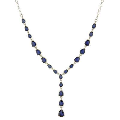 Silver Tone Blue Y Necklace 15 In Adj