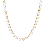 14K Gold Dipped Collar Necklace Made With White Swarovski Crystals 16   19 Inch Adjustable