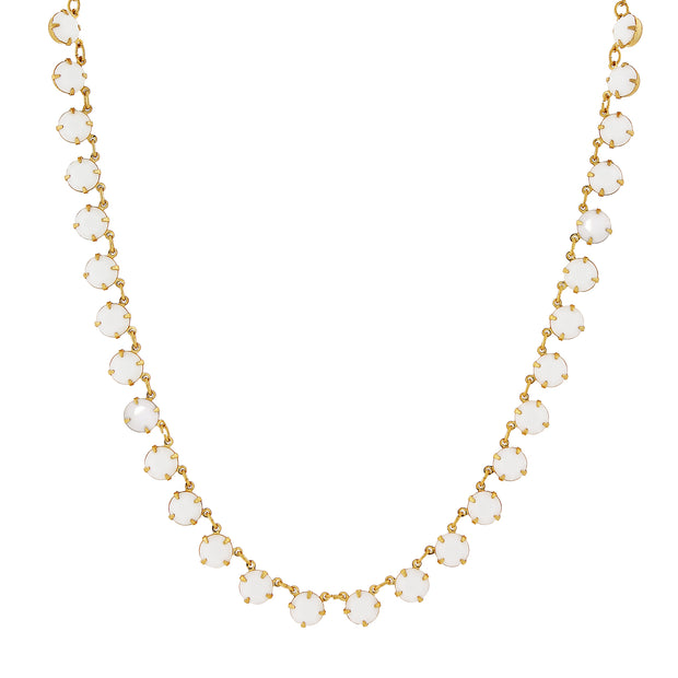 14K Gold Dipped Collar Necklace Made With White Swarovski Crystals 16 - 19 Inch Adjustable