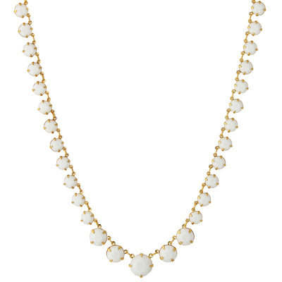 14K Gold Dipped Graduated Necklace Made With White Swarovski Crystals 16   19 Inch Adjustable