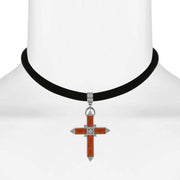 Black Velvet Choker With Crystal Accent Cross Orange