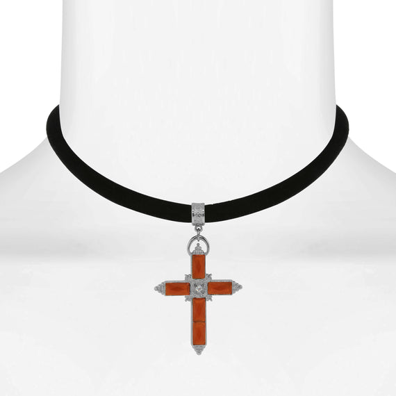 Fashion Jewelry - Black Velvet Choker with Carnelian Orange and Crystal Accent Cross 12 Adj.