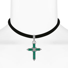 Black Velvet Choker with Carnelian and Crystal Accent Cross