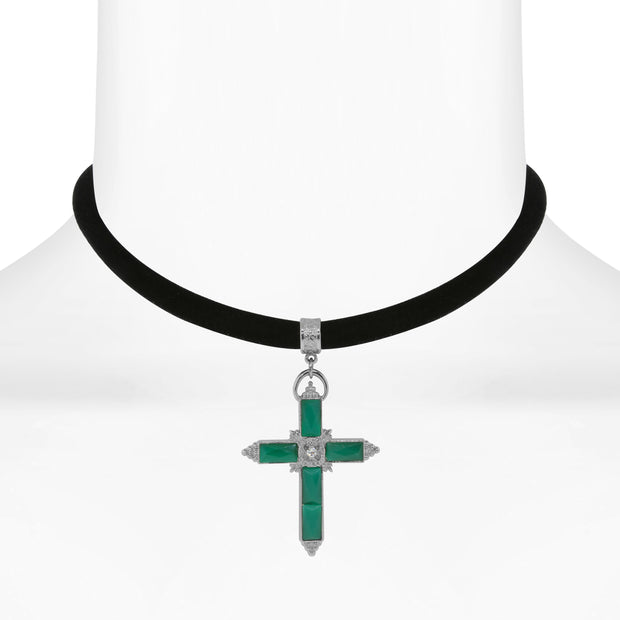 Black Velvet Choker With Crystal Accent Cross 12  Adj.
