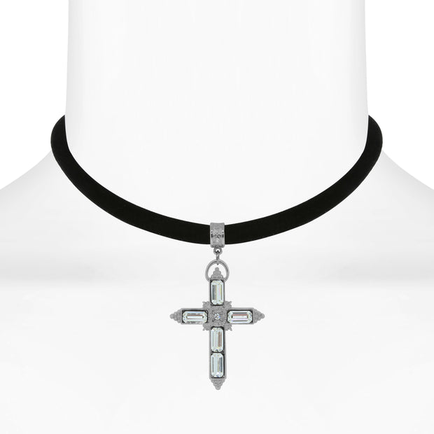 1928 Jewelry Black Velvet Choker With Crystal Accent Cross 12 - 15 Inch Adjustable