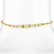Brass Costume Mother Of Pearl And Crystal Accent Coil Choker Necklace 15 In