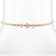 Costume Pearl And Crystal Coil Choker Necklace 15 In Pink