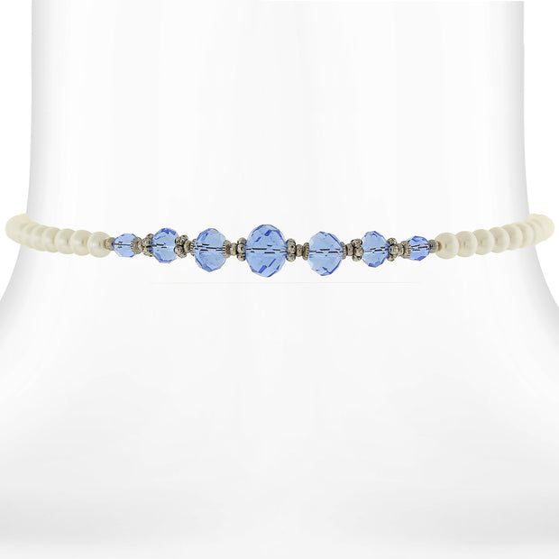 Costume Pearl And Crystal Coil Choker Necklace 15 In Light Blue