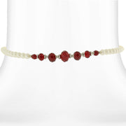 Costume Pearl And Crystal Coil Choker Necklace 15 In Red