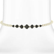 Costume Pearl and Black Crystal Coil Choker Necklace 15 In