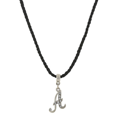 Black Cord Silver-Tone Crystal Initial Necklace 14 In Adj