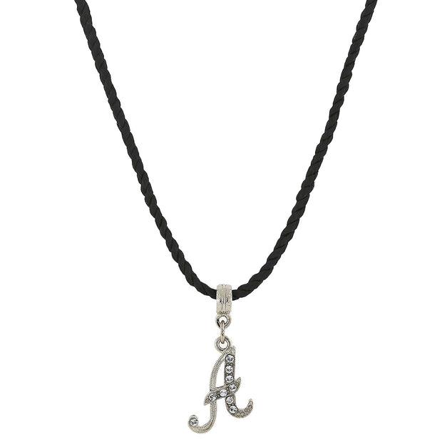 Black Cord Silver Tone Crystal Initial Necklace 14 In Adj