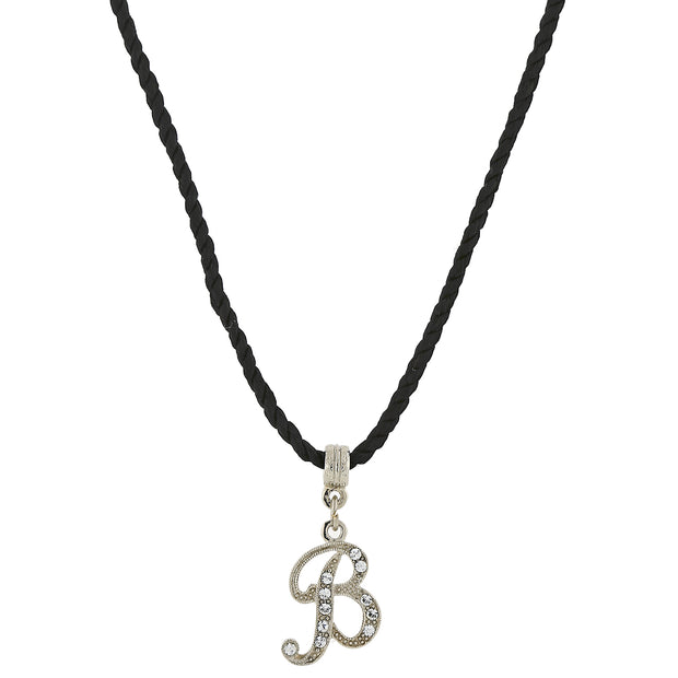 Black Cord Silver Tone Crystal Initial Necklaces B