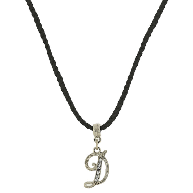 Black Cord Silver Tone Crystal Initial Necklaces D