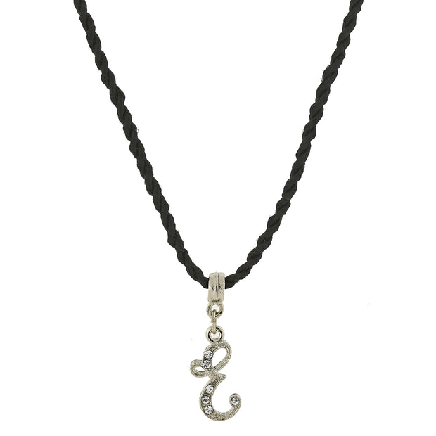 Black Cord Silver Tone Crystal Initial Necklaces E