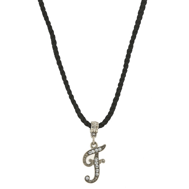 Black Cord Silver Tone Crystal Initial Necklaces F